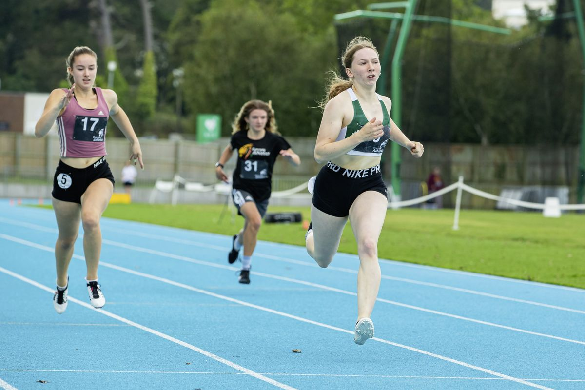 Rhiannon Dowinton wins over 200m from Amelia Hart and Emily Pike. (Picture by Martin Gray, 29980087)