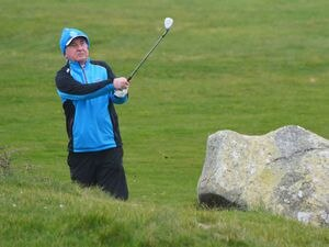 L'Ancresse GC captain Alan Mahy playing in the one competition to have been played so far this season, the Louis |Goubert Trophy. (Picture by Gareth Le Prevost, 28121379)