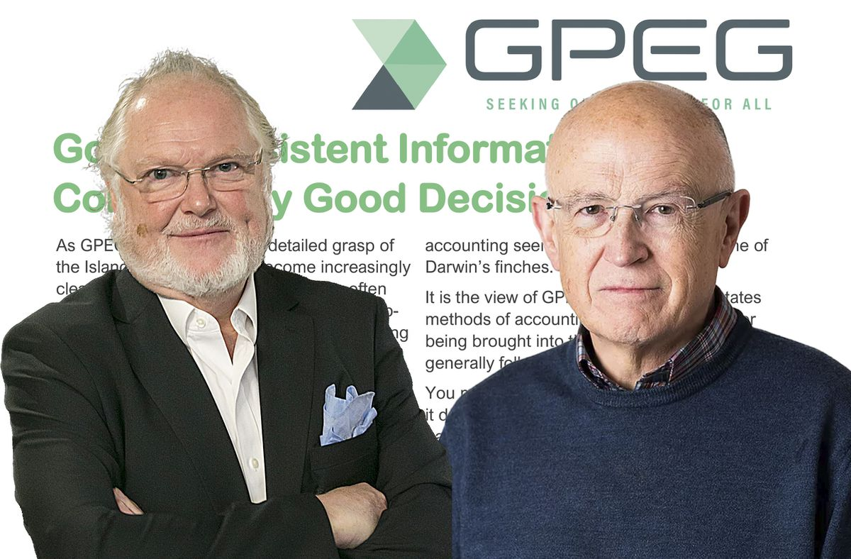 Lord Digby Jones, left, and Jon Moulton the authors of the third paper by the Guernsey think-tank, GPEG, which looked at the unusual accounting habits of the States and calls for the implementation of internationally recognised accounting standards. Funding for this implementation was committed some eight years ago.