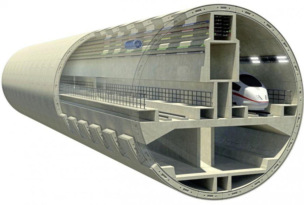 Bored rail tunnel.