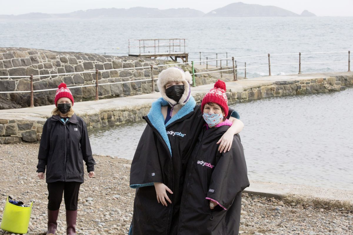 Left to right: Tracey Atkinson, Freya Lucks and Alison Good are enjoying being able to swim in the Bathing Pools again (Picture by Adrian Miller, 29274570)