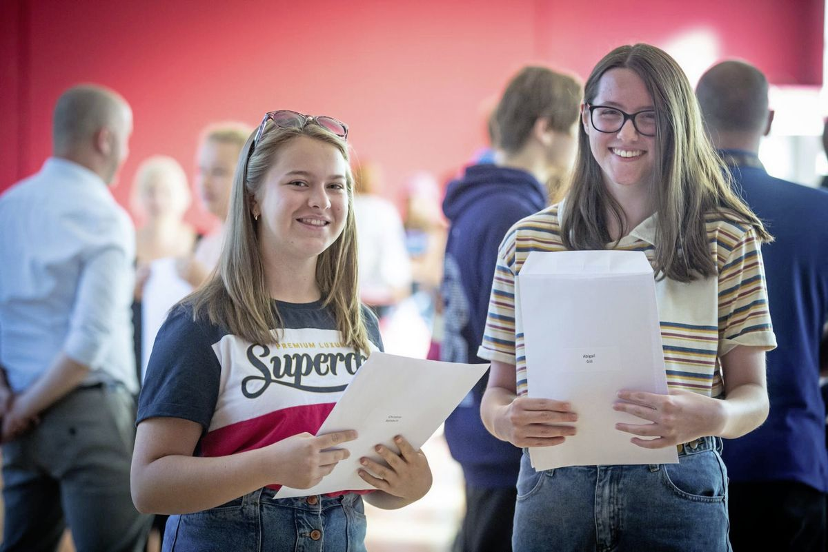 GCSE results day: Pictured are Blanchelande College students Christina Salisbury, 16 and Abigail Gill, 16. (28601983)