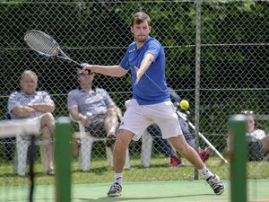 Pic supplied by Andrew Le Poidevin: 06-06-2021...St Martins Tennis Club closed tournament...Mens singles finalist Seb Smeed.. (29626822)