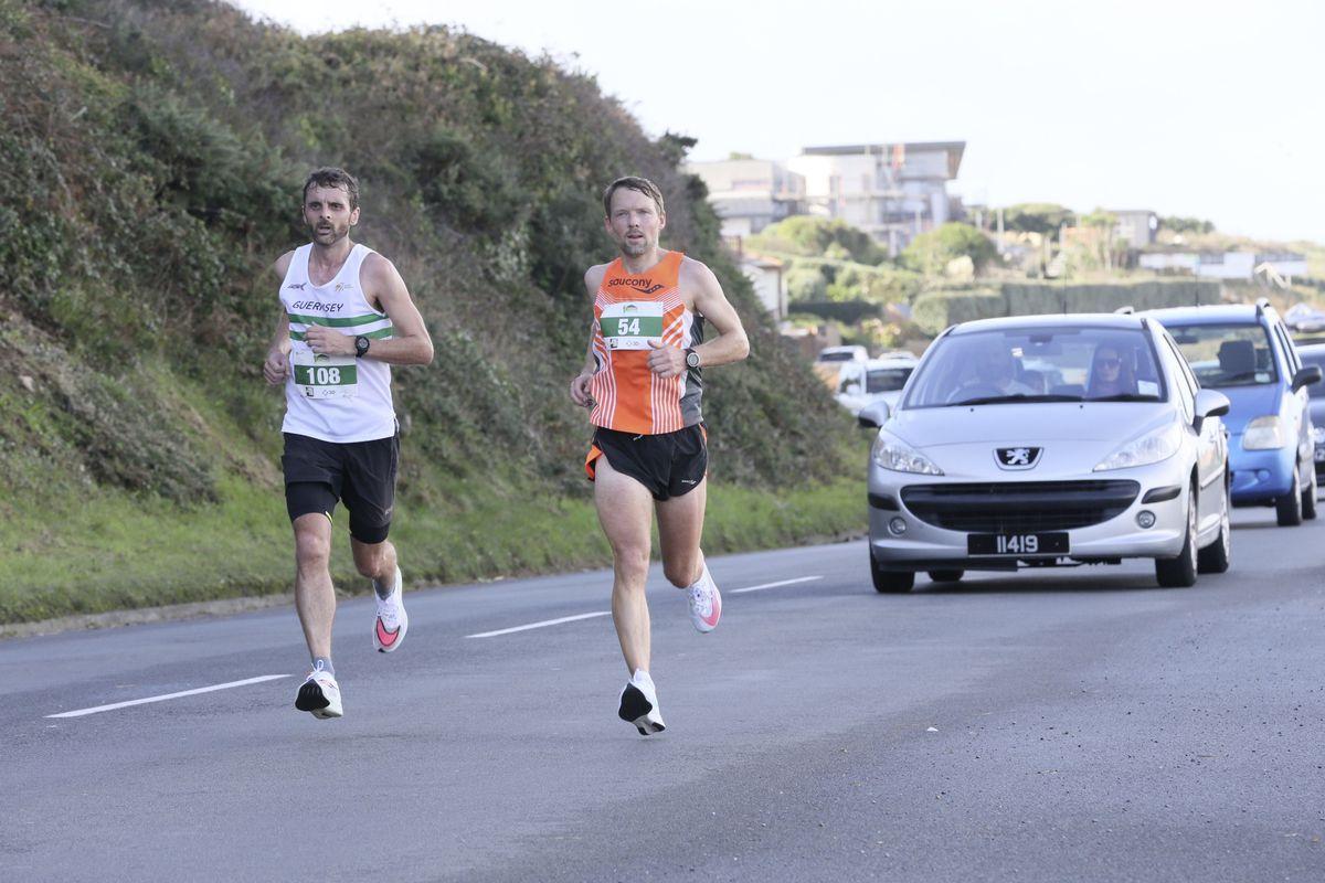 Pic by Adrian Miller 25-10-20 Guernsey Marathon 2020   L>R Nick Mann and Richard Friedrich (28836858)