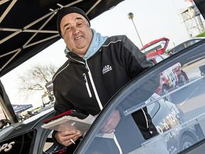 Pic supplied by Andrew Le Poidevin: 24-02-2018.The Guernsey Kart & Motor Club LBG Resolution-IT Guernsey Rally..Karl Marshall the GK&MC President swapped the organisers paperwork for track notes before navigating for Craig Robert in a Honda Civic.. (28311666)