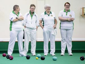 Picture by Sophie Rabey.  11-01-20.  Indoor Bowls Action for opening games of Channel Island Finals Weekend.  Guernsey vs Jersey Ladies 4's.  Alison Merrien MBE, Carol Ingrouille, Catherine Snell, Shirley Petit (Guernsey) F Archibald, C Staley, S Job, D Canavan (Jersey).. (26869216)