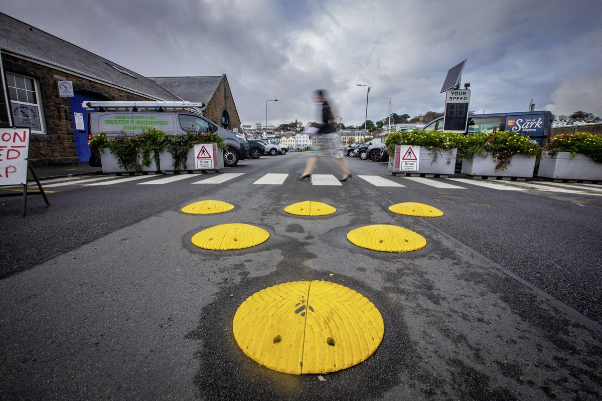 Hitting a bump in the road: The controversial traffic-calming measures installed at the White Rock on Sunday have been removed after widespread criticism. (Picture by Peter Frankland, 28942076)