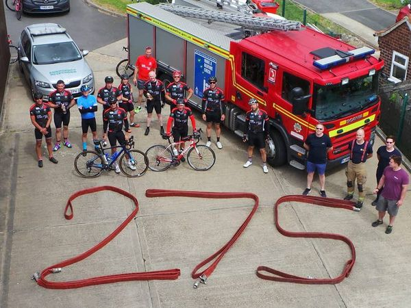 Fire crew cycles 275 miles to 32 stations for mental health charity