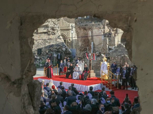 Pope calls on Christians to forgive and rebuild amid ruins of churches in Iraq