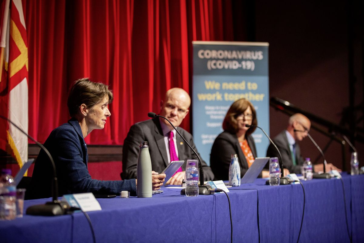 Safe pairs of hands... Left to right: Health & Social Care president Heidi Soulsby, Policy and Resources president Gavin St Pier, director of Public Health Dr Nicola Brink and HSC medical director Dr Peter Rabey giving a coronavirus update at Beau Sejour. (Picture by Sophie Rabey, 2827649
