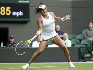 Heather Watson in action against Kristie Ahn during their first round match. (Picture by PA News)