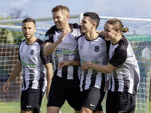 Before the frustration: St Martin's celebrate Danny Hale's opening goal at Port Soif. Left to right – Eti Le Prevost, Dom Heaume, Danny Hale and Joe Blackham.(Picture by Martin Gray, www.guernseysportphotography.com, 28787731)