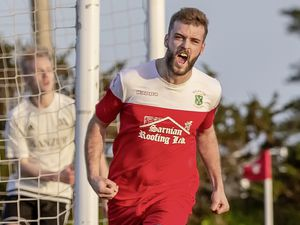 Sylvans striker Kyle Smith celebrates his equaliser against Manzur on Saturday.(Picture by Martin Gray, www.guernseysportphotography.com, 29041016)