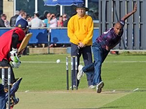 England international Dimi Mascarenhas bowling in the 2013 edition of the GPL.    (28975119)