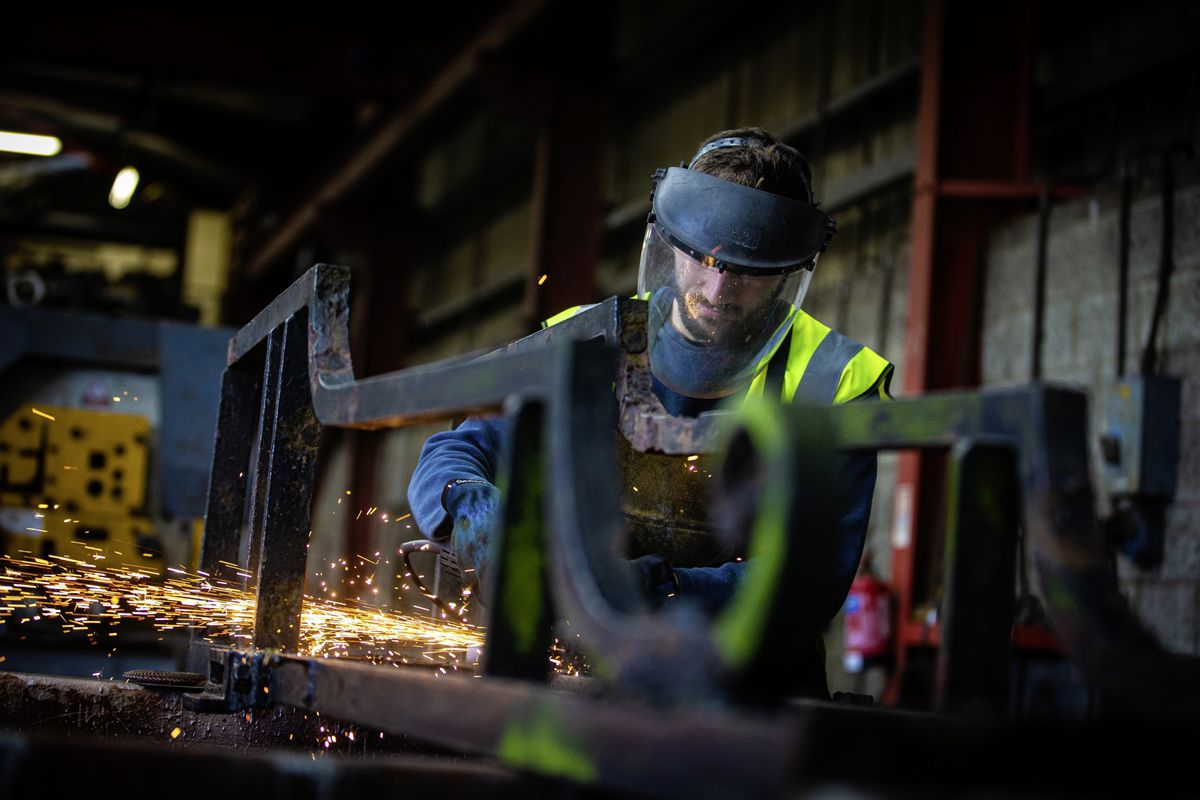 Picture By Peter Frankland. 22-10-20 Rory Moriarty, welder / fabricator at Channel Welders, working on the Elizabeth College gates which the company are restoring.. (28828014)
