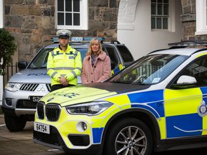 Inspector Thomas Marshall, who leads the Roads Policing Unit and Andrea Nightingale, Substance Use Lead for the Health Improvement Commission, at the launch of the anti-drink-drive campaign in the run up to Christmas. (Picture by Peter Frankland, 29156089)