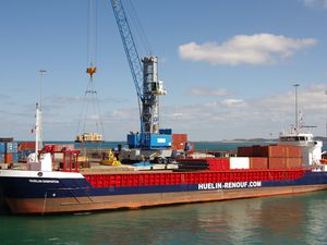 The Huelin Dispatch being offloaded at number five berth in St Peter Port Harbour by one of the Gottwald cranes. Ports general manager Colin Le Ray said the cranes would not go to waste despite a reduction in lift-on, lift-off shipping. (Picture by Tony Rive)