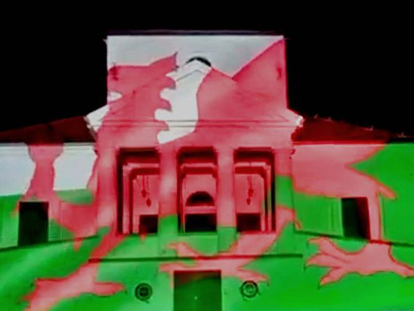 Hungarian castle lit up in Welsh colours to mark St David's Day
