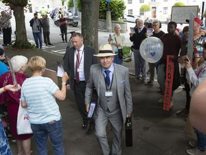 Picture By Cassidy Jones. 14-07-21 Deputy Carl Meerveld. Abortion Debate, protesters outside the Royal Court.. (29798620)