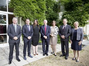 Queen's Birthday Honours recipients with Bailiff Richard McMahon left, and Lt-Governor Vice Admiral  Sir Ian Corder, centre. Left to right, Dr Mat Dorrian, Mary Putra, Dr Nicola Brink, Paul Whitfield and Rachel Copeland. (Pictures by Adrian Miller, 28784909)