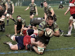 Raiders No. 8 Doug Horrocks goes over for one of his two tries against CS Stags 1863. (Picture by Mike Marshall, 27059755)