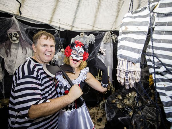 Scary siblings Paul Skipton and Debbie Duport have taken over their parents' house and turned it into a Halloween extravaganza to raise money for Guernsey Alzheimer's. (Pictures by Sophie Rabey, 28834043)