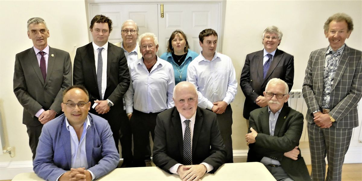 The members of the States of Alderney had the opportunity to meet Deputies Peter Ferbrache and Chris Blin on Saturday. Back row, left to right, Kevin Gentle, Alex Snowdon, Graham McKinley, Steve Roberts, Annie Burgess, Rhys Jenkins, Ian Carter and President William Tate. Seated Deputy Blin, Deputy Ferbrache and Bill Abel, Alderney's senior politician.  (Pictures by David Nash)