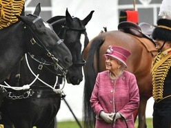 Queen inspects King's Troop Royal Artillery formed at request of George VI