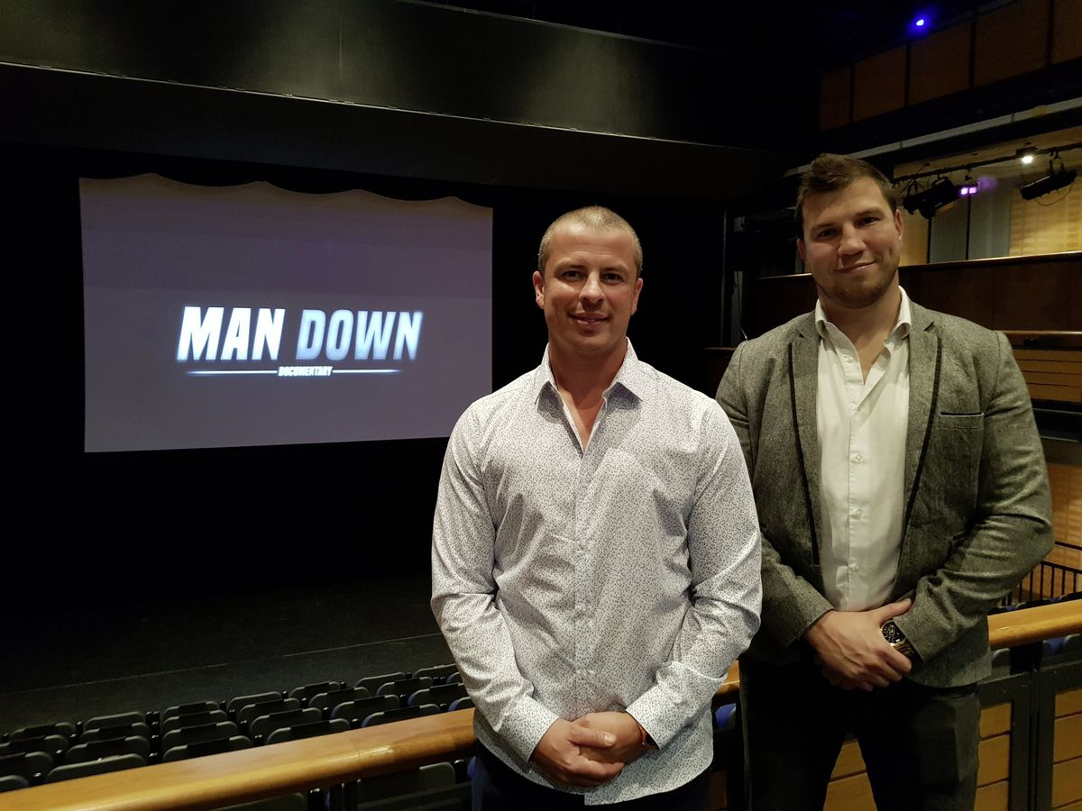 Around 200 people attended the premiere of the Man Down documentary at the Princess Royal Centre for Performing Arts this week...L-R Philip Surry from Guernsey Mind and Gaz Papworth from Element Films.. (26124643)