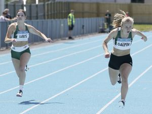 Pic by Adrian Miller 14-06-20 Athletics meet at Footes Lane with social distancing. 100m. Lees and Galpin (28365876)