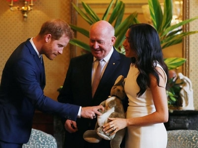 Harry and Meghan receive first baby gifts as they begin royal tour in Sydney