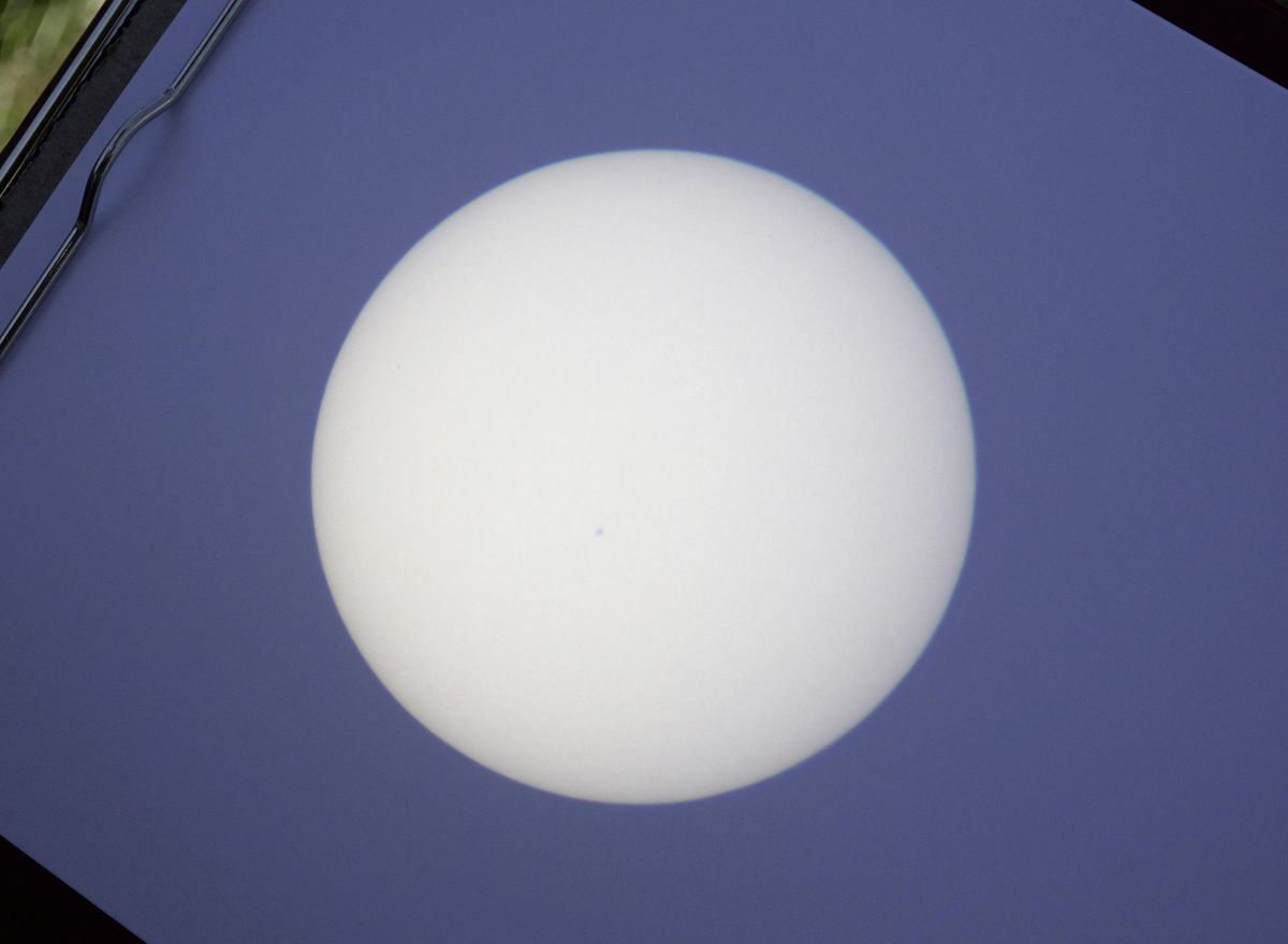 Sun image projected through small telescope onto card, showing a distinct sunspot just below left of centre. (29628422)