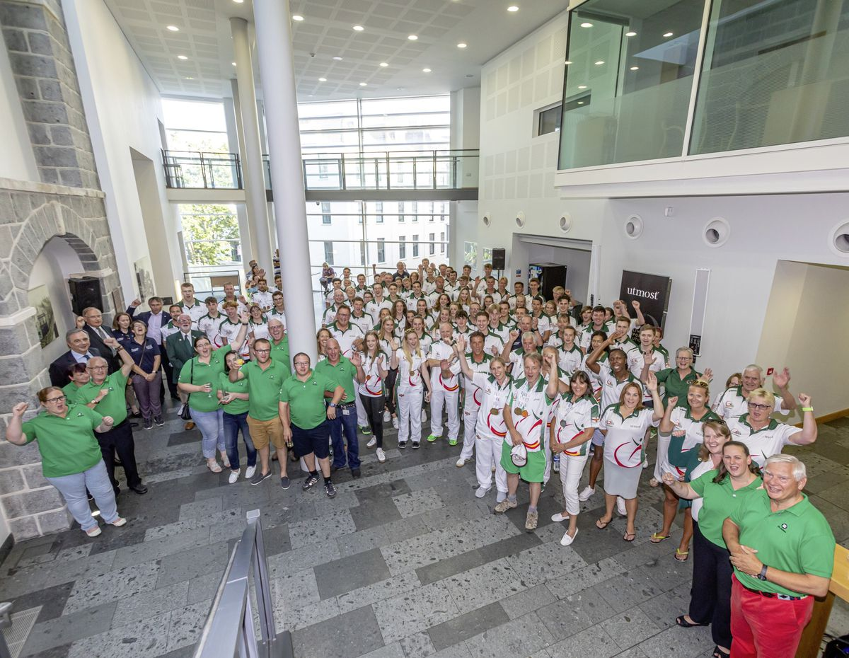 The Bailiff Sir Richard Collas and Team Guernsey sponsor Utmost host a Vin d'Honneur for the Guernsey team on their return from Gibraltar 2019. (Picture by Chris George, 25255330)