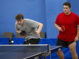 Picture by Sophie Rabey.  16-11-20..Table Tennis Island Championships..MENS DOUBLES.Ben Foss and Ryan Bichard.. (29454855)