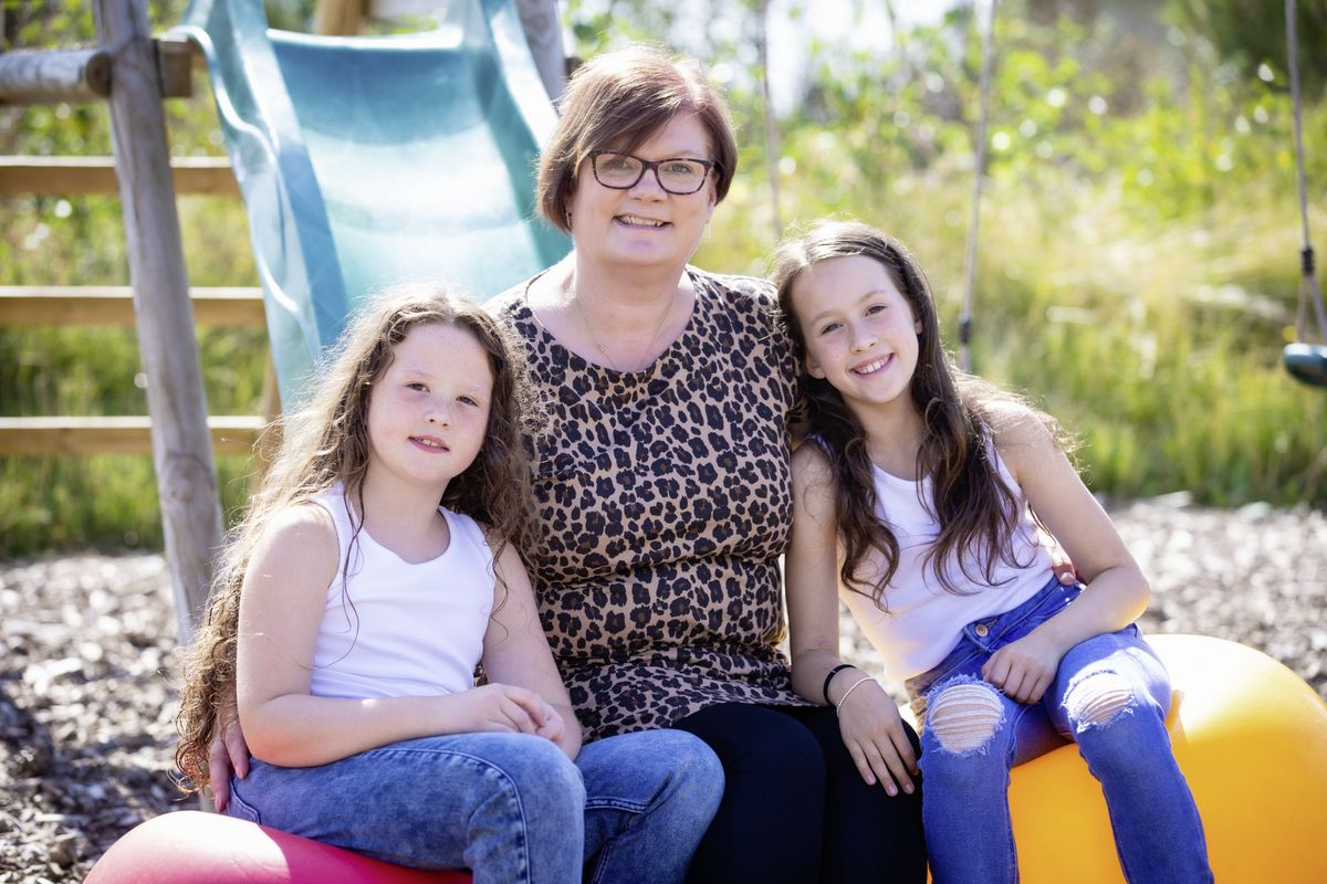 Dawn Legg with her god daughters Tillie Colmer, 7, left, and Lottie Colmer, 9. (Picture by Peter Frankland, 29886165)