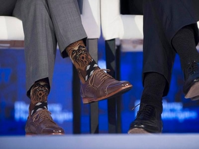 Justin Trudeau's Chewbacca socks caused quite a stir at a business forum in New York