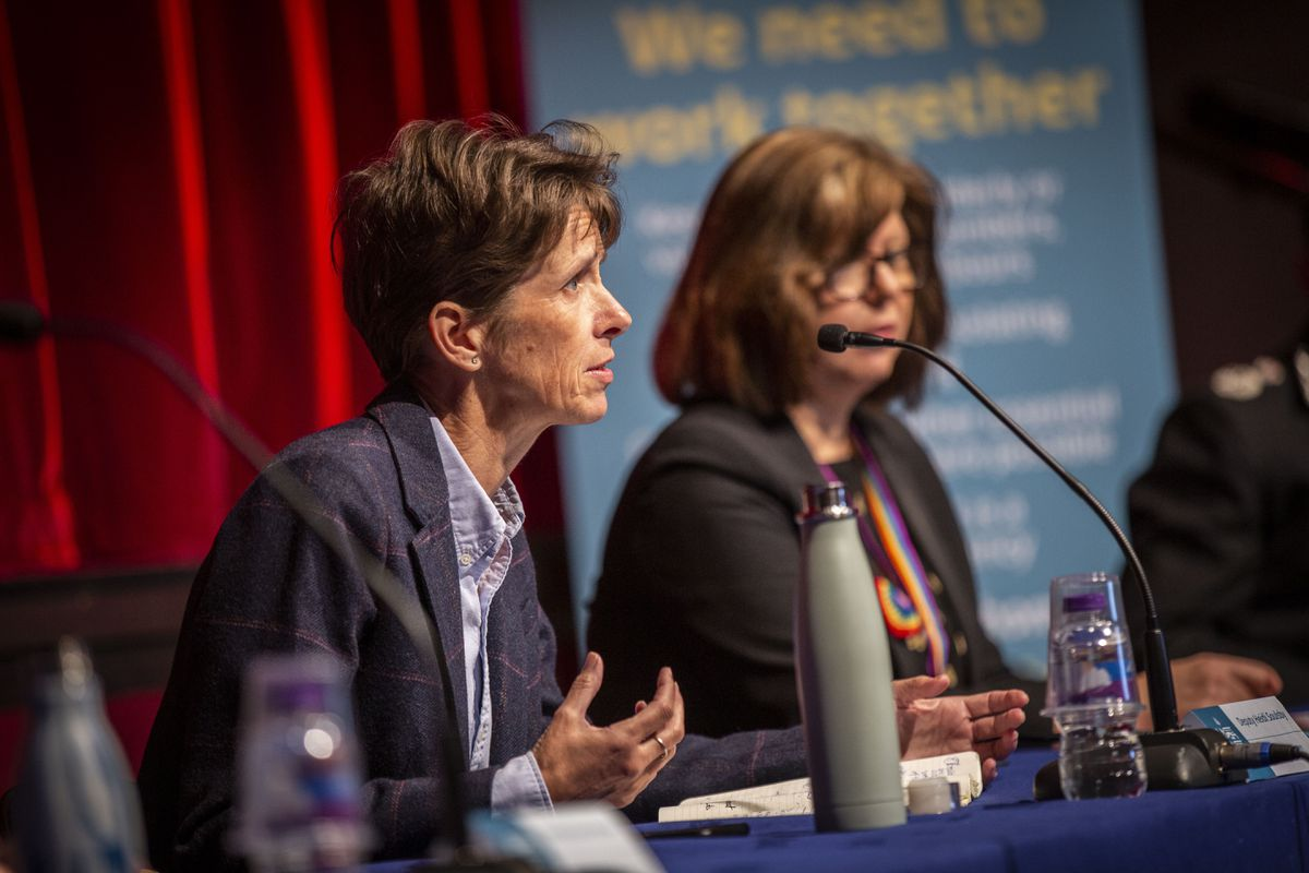 The then president of Health & Social Care Heidi Soulsby, with Director of Public Health Dr Nicola Brink during a media briefing on Coronavirus in May.  	                                  (Picture by Sophie Rabey, 28901547)