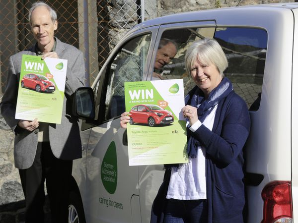 Pic by Adrian Miller 26-02-21 Guernsey Alzheimers Association Delancey - Launch of car lottery on March 1st. Stephen Collas chairman and Julie Thompson manager. (29283372)