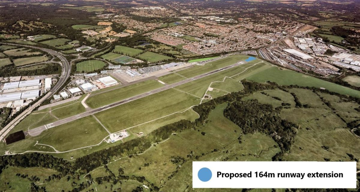 The 164m. extension to Southampton Airport runway is at the end furthest from the M27 motorway.