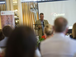 Julian Winser, whose name has been put forward as the new chairman of the Guernsey Financial Services Commission, speaking at a Guernsey Chamber of Commerce lunch. (29314024)