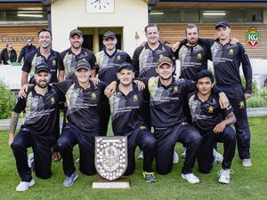 Griffins have won the Rozel Shield for the third time in the club's history as Odey Wealth Evening League champions. Back row, left to right: Damian Wallen, Jordon Martel, Adam Wakeford, Luke Le Tissier, Adam Martel, Nic Buckle. Front: Dane Mullen, Luke Bichard, Tom Kirk, Matt Philp and Marcus Thomas.Picture by Martin Gray, 28-07-21 (29812102)