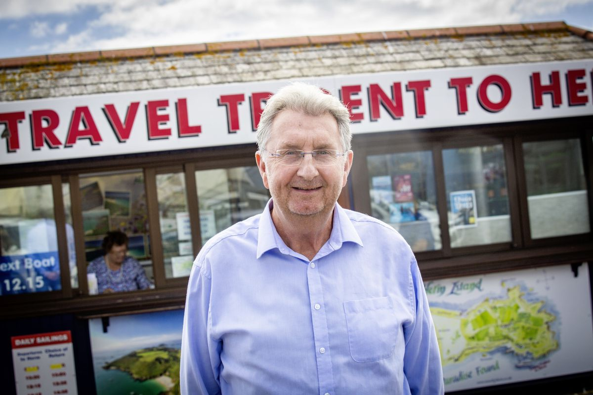 Travel Trident managing director Peter Wilcox at the Herm kiosk in Town. (Picture by Sophie Rabey, 30016528)