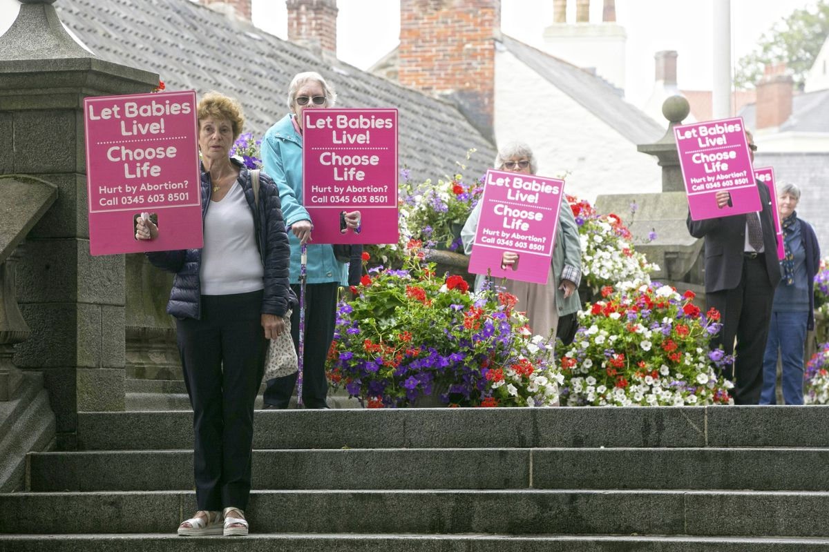 Pic by Adrian Miller 17-06-20 Royal Courts. Let Babies Live was the slogan at an Anti abortion protest held in silence.. (28374656)