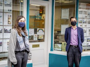 Picture by Sophie Rabey.  25-02-21.  .Cranfords Estate Agents.  Rentals Manager Natalie Vile and Manager Dominic Bacon.  Second Covid-19 Lockdown Phase 1 working. (29278647)