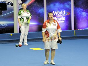 Surveying the damage: Alison Merrien looks down the green for the outcome of her delivery in her singles quarter-final against Blackpool player Janice Gower at the 2018 World Matchplay at Potters Resort. (Picture by David Rhys-Jones)