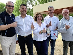Guernsey's World Bowls European regional director Garry Collins (far left) with French Federation of Lawn Bowls president Patrick Duvarry (far right) and local officials in the Ardeche. (22255491)