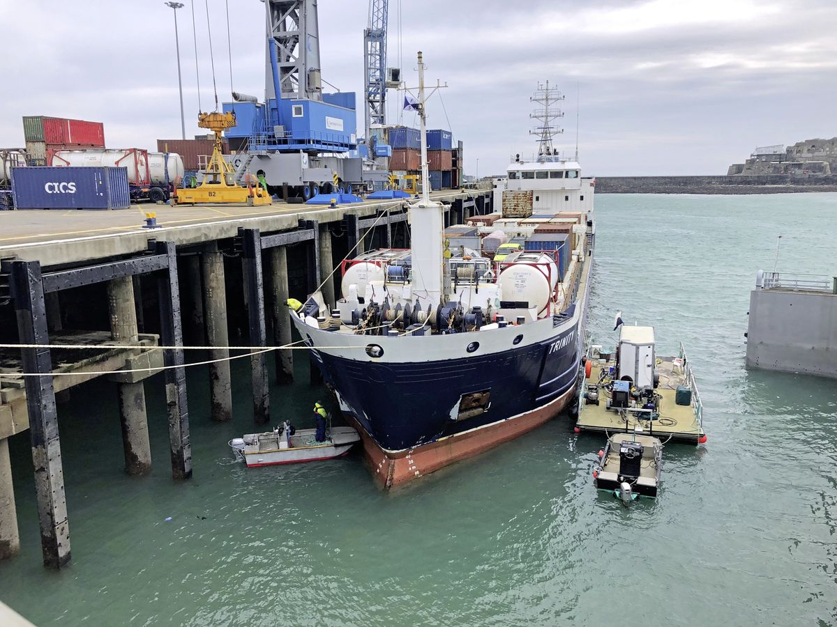 Ports of Guernsey divers, nicknamed The A Team, assisted Channel Seaways to remove a rope tangled in the MV Trinity's bow thruster. The picture was taken by Guy Hudson, Channel Seaways' operations manager.