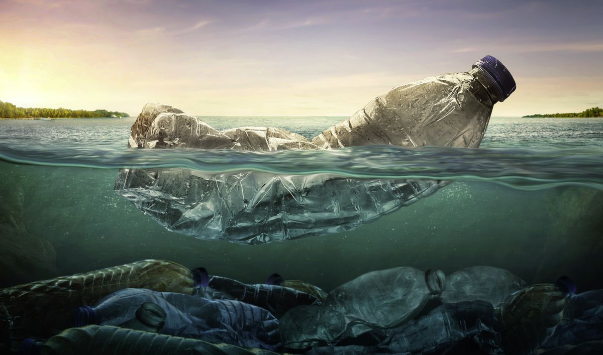 Plastic water bottles in the ocean. (Picture by chaiyapruek youprasert/Shutterstock)