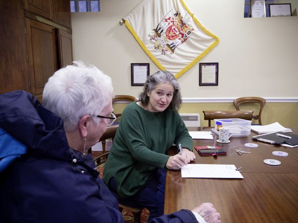 Parishioner Sue Le Feuvre, left, talking to St Peter Port constable and douzenier Zoe Lihou. (Pictures by Adrian Miller, 29118785)