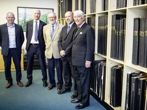 The Guernsey Press has been sold to a local investment company in a multi-million-pound deal. Pictured, left to right, are: Guernsey Press operations director Darren Cooley, managing director Mark Lewis, chairman Terry Holder, editor Shaun Green and Sir Geoffrey Rowland, chairman of Bailiwick Investments Limited. (Picture by Peter Frankland, 25938197)